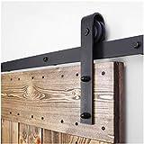 8FT/243cm Sliding Barn Wood Door Hardware Closet Track Kit Single door -Portes coulissantes Matériel Trousse Unique patin à roulettes