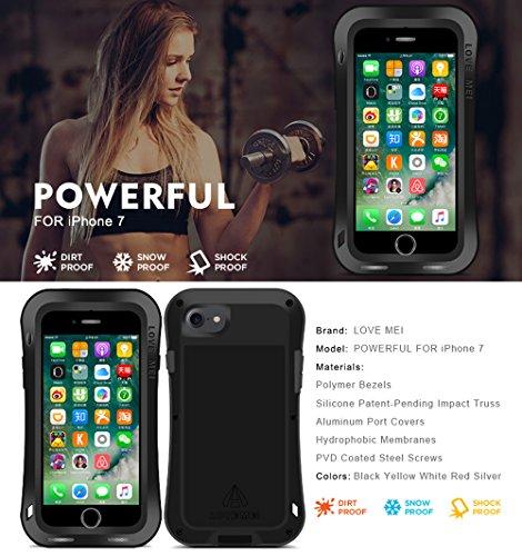 Étui pour Apple iPhone 7(11,9cm), Love Mei marque [Curve style] imperméable, anti-chocs, anti-poussière en aluminium avec protection d'écran en verre trempé intégrée * * * * * * * * * * * * * * * *  Red