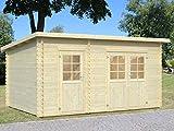 Gartenhaus Ulmus U18 inkl. Fußboden, naturbelassen - 28 mm Blockbohlenhaus, Grundfläche: 11,90 m², Pultdach