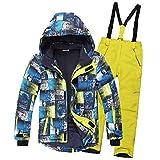SXSHUN Jungen Skianzug 2 Teilig Skijacke + Skihose Kinder Mädchen Outdoor Warm Schneeanzug