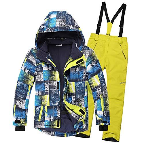 SXSHUN Niños Traje de Esquí 5000mm Chaqueta Impermeable Soft Shell para Nieve Peto de Nieve Conjunto Caliente de 2 Piezas, Pantalones Amarillos, 7-9 años (134/140)