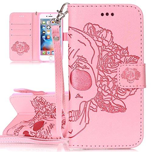 Custodia per Apple iPhone 6 Plus, ISAKEN iPhone 6S Plus Flip Cover, 5.5 inch Custodia con Strap, Elegante Sbalzato Embossed Design in Pelle Sintetica Ecopelle PU Case Cover Protettiva Flip Portafoglio rose:rosa