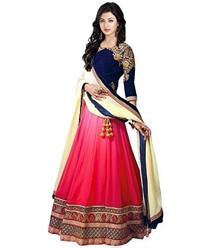 Lady Loop Women\'s Crepe Silk Long Cholis Lehenga Choli (Lllc-22_Beige_Free Size)