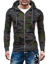 BOLF – Sweat-shirt á capuche - Pull de sport – Fermeture éclair – HOT RED 2539A - Homme