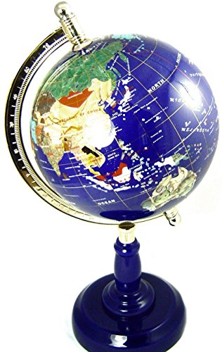Edelstein Globus dunkel Blau, Lapis Globus 220mm, Höhe ca. 45 cm, Unikat Edelsteinglobus (Edelstein-globen)