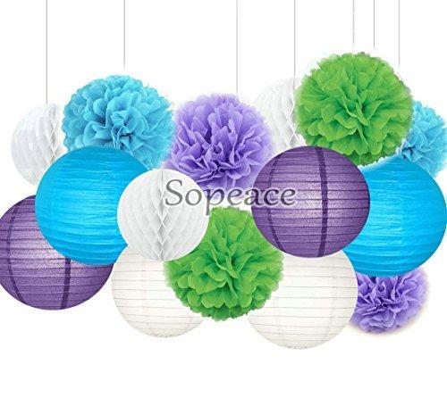 Sopeace Party-Dekorationsset lila blau grün Seidenpapier Pompons Blumen Papierlaternen Kreis Girlande Geburtstag Hochzeit Taufe Frozen Motto Party Dekoration für Erwachsene Jungen Mädchen (Frozen Dekorationen Party)