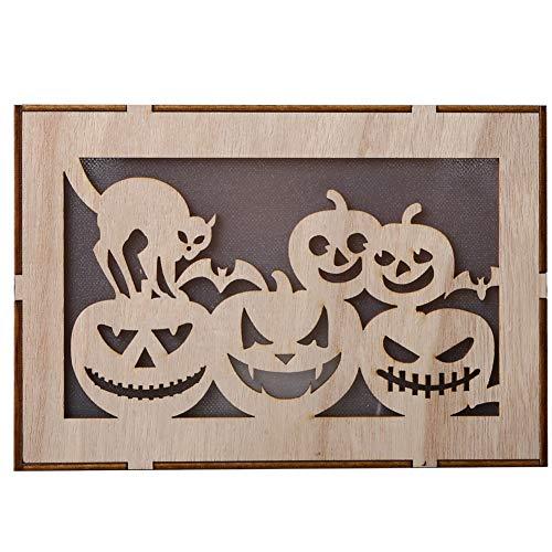 qhtongliuhewu Halloween Hängende LED Nachtlicht Aus Holz Rechteck Kürbis Haunted House Anhänger Dekor Ornament - Bat Bunting Kostüm