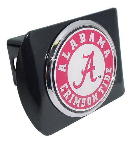 University of Alabama Black with Chrome Crimson Tide Seal NCAA College Sports Metal Trailer Hitch Cover Fits 2 Inch Auto Car Truck Receiver (Cover Hitch Truck)