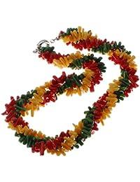 Chunky TreasureBay rojo-amarillo-verde trenzado collar con colgante en forma de ramas Coral diseño con texto 45 cm - presentada en estuche detalle caja de regalo