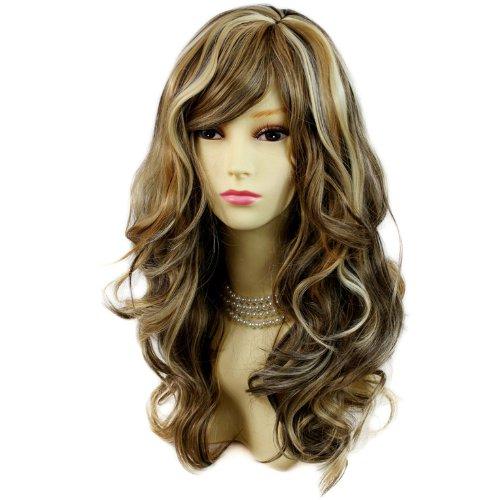 Perruque Magnifique Mix Blond Marron Longue et Bouclée Résistante à la chaleur