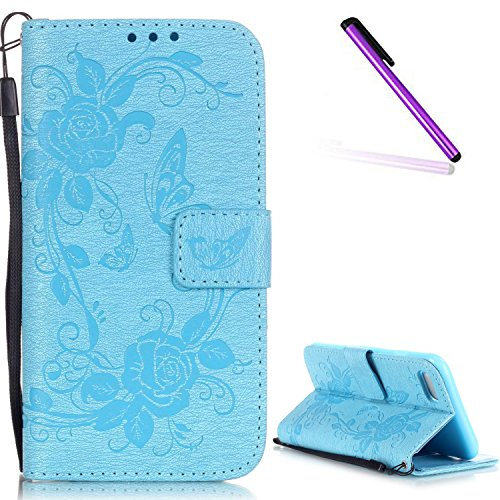 iPhone 7 Coque Glitter,iPhone 7 Coque Souple,iPhone 7 Coque Cuir,iPhone 7 Coque Fleur Etui,iPhone 7 Leather Case Wallet Flip Protective Cover Protector,iPhone 7 Coque Portefeuille PU Cuir Etui,EMAXELE F Butterfly Flower 5