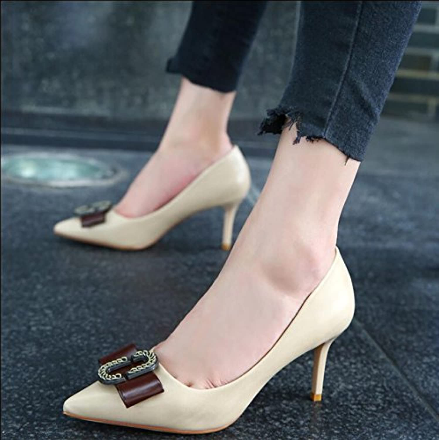 b710af41d84f KHSKX-Beige 7.5Cm Autumn New Tip Tip Tip Of The Bow Tie Shallow Mouth Single  Shoes With High Heels Fine Sweet Princess... B0789D32MT Parent 6d5d68