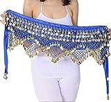 Donna Hip Sciarpa Costume di Danza del Ventre Latino Triangolo Nappa Scialle Gonne Blu Zaffiro Taglia Unica