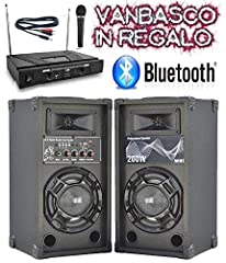 Idea Regalo - IMPIANTO KARAOKE pronto all'uso 2 CASSE BLUETOOTH + MICROFONI WIRELESS + CAVO PC + SOFTWARE VANBASCO (free edition)