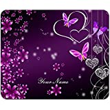 Meffort Inc Custom / Personalized Design 9.5 x 7.9 Inch Standard Mouse Pad, Customized Your Name - Purple Heart Butterflies 2