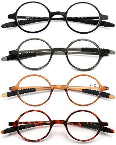 VEVESMUNDO Lesebrillen Damen Herren Lesehilfe Sehhilfe Retro Runde Schmal Flexibel Leicht Nerd Brillen mit Stärke 1.0 1.25 1.5 1.75 2.0 2.25 2.5 2.75 3.0 3.25 3.5 3.75 4.0