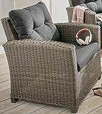Destiny Loungesessel Riviera Sessel Gartensessel Sofasessel Polyrattan Vintage Grau