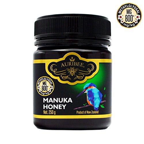 Miele di Manuka MG 800+ -Grezzo Puro Naturale - Prodotto in Nuova Zelanda - Certificato Metilgliossale - Antibatterico Cicatrizzante -250 grammi- AURIBEE