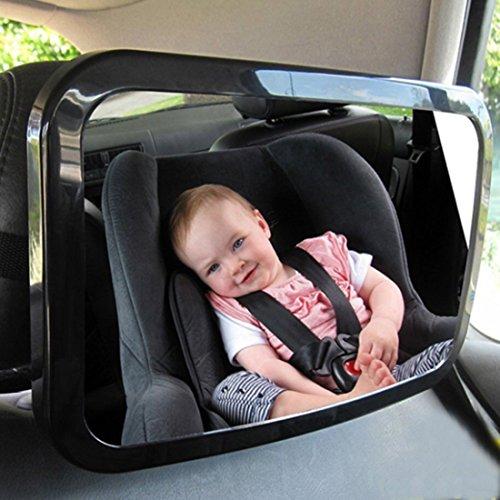 Preisvergleich Produktbild Auto Baby Rückspiegel, GOGOLO Universal Shatterproof Acryl Baby hinten konfrontiert konvexen Spiegel, 360 Grad einstellbar, Crystal Clear große Ansicht, schwarz