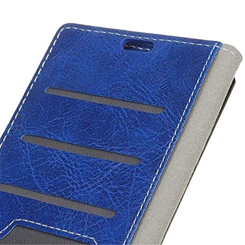 iPhone X Handyhülle, Lifetrut [Flip Brieftaschet Case] Luxus PU Leder Magnetisch Schutzhülle für iPhone X 5.8'' [Braun] E202-blau