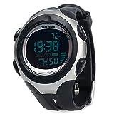 Leopard Shop SKMEI Herren Sport Digital Armbanduhr Wasserfest Schrittzähler Funktion 5ATM Temperaturanzeige, schwarz