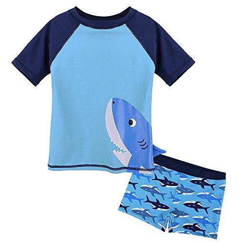 HUAANIUE Baby Schwimmbekleidung~Kinder Badeanzug UV-Schutz Bade-Set Maritim,Hai,12M