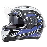 Akira 22075 Casque Moto Intégral Izumi, Noir/Bleu, XL