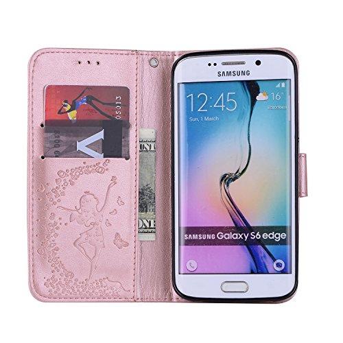 Custodia Galaxy S6 Edge, ISAKEN Cover per Samsung Galaxy S6 Edge, Galaxy S6 Edge Flip Cover con Strap, Elegante 2 in 1 Custodia in Sintetica Ecopelle Sbalzato PU Pelle Protettiva Portafoglio Case Cove Ragazza: rose gold
