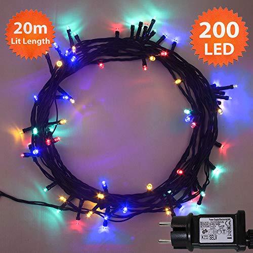 Luces hadas Navidad Guirlande 200 LED Multicolor luces