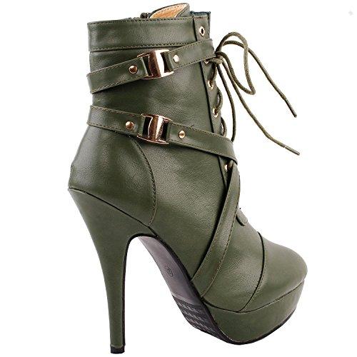 Show Story Punk Buckle Strap High Heel Stiletto Plattform-Kn?chel-Stiefel, LF30470 Army Green