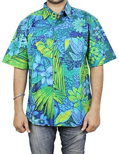 In cotone con stampa floreale hawaiana-Maglietta da spiaggia per uomo,