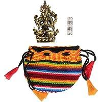 BUDDHAFIGUREN Talismán budista - Chenrezig 4,5 cm de latón con Om mani padme hum rollo de mantra y bolsa pequeña