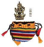 Talisman Buddha Chenrezig 4,5 cm aus Messing mit kleiner Om Mani Padme Hum Mantra-Rolle im Bhutani-Beutel als Begleitset – 3teilig