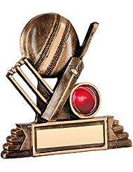 JR6-RF116A Brz/oro resina Cricket trofeo - (1 en el centro) en 4,25 incluye grabado gratis (hasta 30 caracteres)