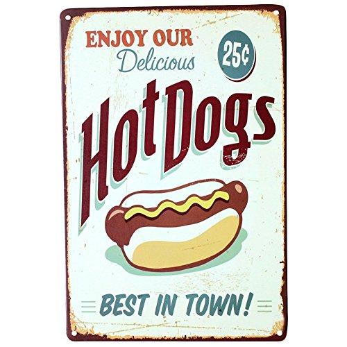 DaoRier Metall Blechschild Hot Dog Muster Eisenmalerei Wand-Dekoration Metall 30x20cm (Hot Dog Dekorationen)