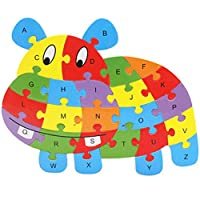 MoGist Wooden Puzzle English Alphabet Animal Shape Intelligence Educational Puzzle 3D Puzzle Children Learning Toy Building Block Wooden Toy