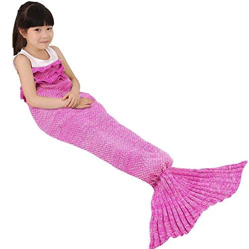 Bambini Crochet maglia sirena coda coperta, okayshop Handcraft Sacco a pelo per ragazze, tutte le stagioni coperta divano salotto, 135cmx65cm (134,6x 66cm) Flower Pink