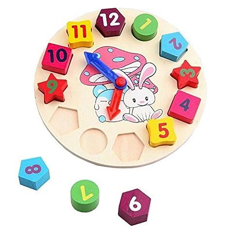 SwirlColor Jouets en bois Horloge éducatifs pour enfants Toy Géométrie