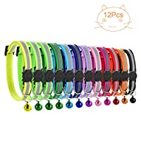 Mengqiy 12pcs Cat Collar Set Adjustable Safety Bell Collar Pet Cat Kitten Collar with Reflective Strip Quick-Release Buckle