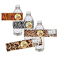 Jungle Safari Party Water Bottle Labels - Animal Print Baby Shower Party Drink Stickers - Set of 12