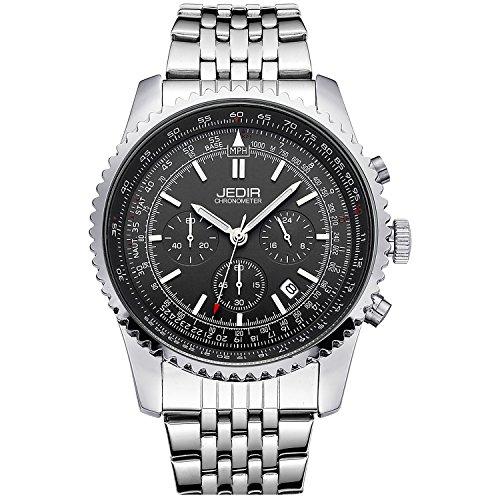 Jedir uomo cronografo analogico al quarzo orologio quadrante nero con bracciale in acciaio inossidabile di data calendario (nero)