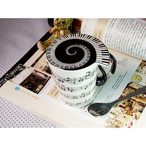 Musicwear - Tazza con coperchio, motivo pentagrammi orizzontali