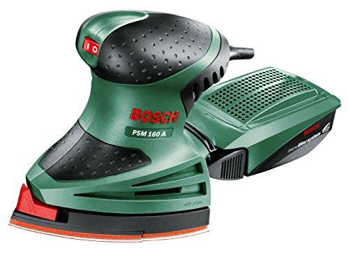 Bosch PSM 160 A - Multilijadora (160 W, 3 hojas de lija, nº de carreras en vacío 24.000 o.p.m, Ø circuito oscilante 1,6 mm, maletín)