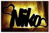 Schlummerlicht24 Led Wohnzimmer Wand-Bild Schlafzimmer Deko Herz Name, Geschenk mit Namen zum Jahrestag Verlobung Hochzeit für Sie und Ihn Freund Freundin Partner Ich liebe Dich Romantische Geschenke