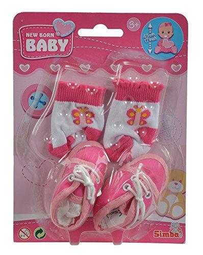 Simba 105560844 - New Born Baby Schuhe und Socken, 4-sort. - Puppe Schuhe