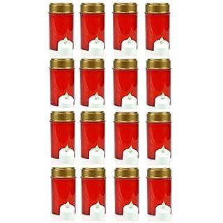 16x LED Grablicht rot Grableuchte Grablampe Grabkerze flackernd incl.Batterie