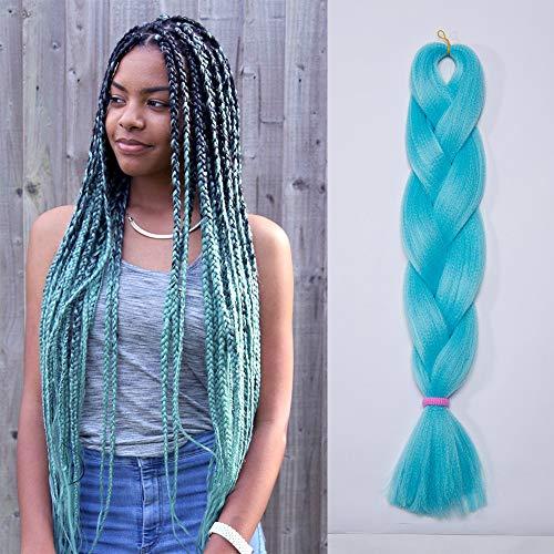 Extension treccine capelli a treccia finta braiding hair una ciocca braids extension 100g, azzurro chiaro