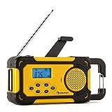 Duramaxx Patagonia digitales Camping-Radio mit Dynamo, Akku, Solar oder Batterie-Betrieb (mit Taschenlampe, USB-Ladestation, Uhrzeit-Anzeige, Tragegriff) gelb