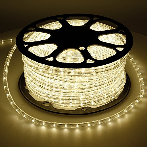 ECD Germany 50 m LED Lichterschlauch Warmweiß 3000K 220-240V AC Stromverbrauch ca. 1.2 W pro Meter 3819 Lumen 10.5 mm Durchmesser IP44 Schutzklasse 360° Ausstrahlungswinkel 36 LED Lampen/Meter nicht Dimmbar
