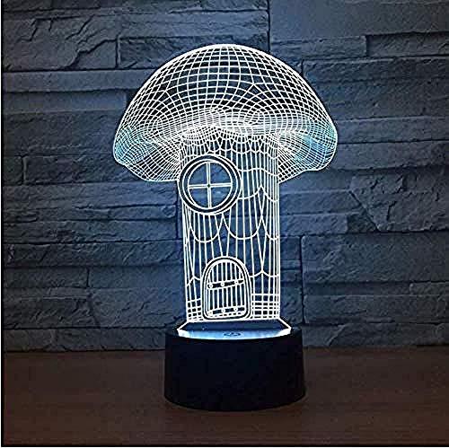 Pilzhaus 7 Farbe Visual Led Touch 3D Nachtlicht Lámpara De Escritorio